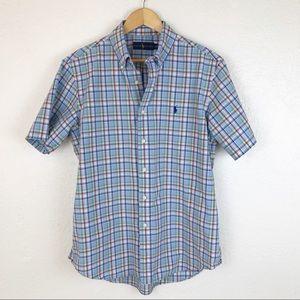 Ralph Lauren plaid button down blue multi Lg. M029